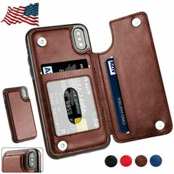 Magnetic Leather Wallet Case Card Slot Flip Cover Fr iPhone
