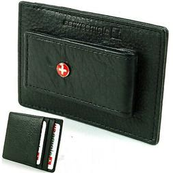 Alpine Swiss Men's Leather Money Clip Wallet Slim Card Case
