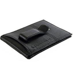 Alpine Swiss Mens Leather Twofold Money Clip Card Case Flip