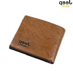 JEEP BULUO Men's Money Clips Pu Leather Wallets For Men Fash