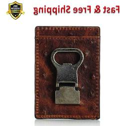 Mens Front Pocket Money Clip Wallet Brown Leather Card Cases