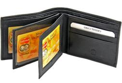 Mens Genuine Leather Wallet Bifold 2 Flap ID Cases Credit Ca