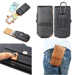 Mens Leather Holster Cell Phone Pouch Belt Loop Card Slot Wa
