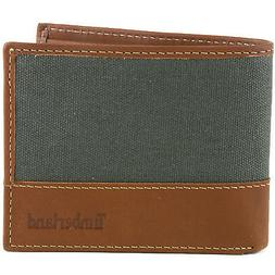 Timberland Mens Passcase Wallet Canvas & Leather Trim Bifold