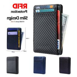 Mens RFID Blocking Leather Business Credit Card Case Front P