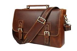 Mens Vintage Brown Genuine Leather 14 Inch Laptop Briefcase