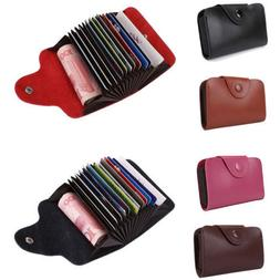 Mens Womens Leather Pocket Case Business ID Credit Card Mone