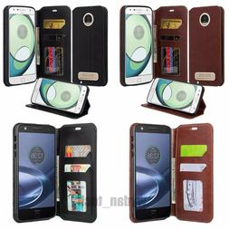 For Moto Z Play Droid Wallet Case Leather Credit Card Slot S