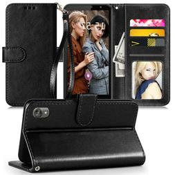 For Motorola Moto E6 Wallet Case With Stand Card Cover+2Pcs