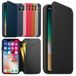 New For iPhone 11 Pro XS Max XR X Leather Folio Flip Slots W