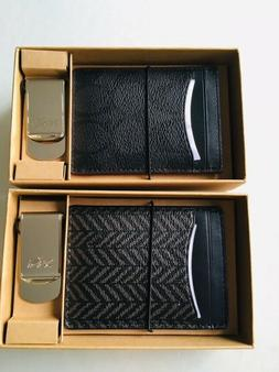New Coach Men BOXED 3-IN-1 CARD CASE with Money Clip GIFT SE