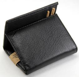 New Mens Trifold Genuine Leather Black Wallet Credit Card Ca