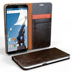 Nexus 6 Case, Cellto  PU Prime Leather Wallet Case Cover for