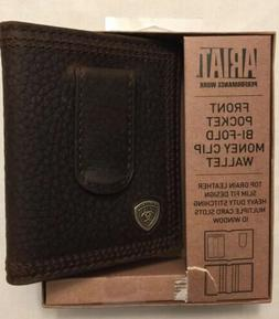 NWT ARIAT Brown Front Pocket Bi-Fold Money Clip Card Case Wa