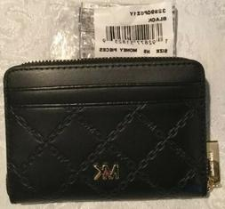 NWT MICHAEL KORS MONEY PIECES BLACK/GLD LEATHER ZA COIN CARD