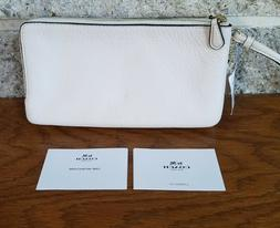 NWT COACH PEBBLED LEATHER DOUBLE ZIP WALLET WRISTLET PHONE C