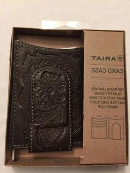 NWT ARIAT Tooled Pattern Brown Magnet Money Clip Card Case A