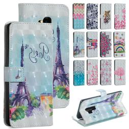Painted Leather Wallet Magnetic Flip Case Cover Fr Samsung S