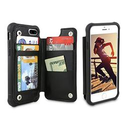 Gear Beast PU Leather Top View Wallet Case Fits iPhone 7 Plu