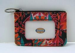 Fossil Red Floral Mini Skinny  Coin Card Case Wallet