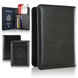 RFID Blocking Leather Passport Holder Case Cover Wallet for