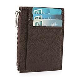 RFID Blocking Leather Slim Zipper Credit Card holder Wallet