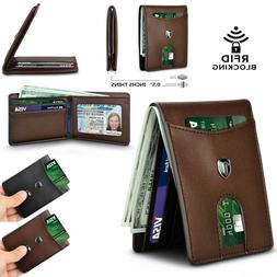 rfid blocking men wallet bifold genuine leather