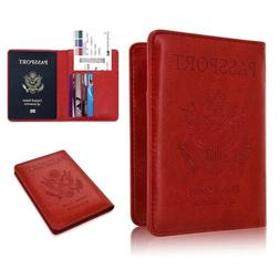 RFID Blocking Passport Case Leather Wallet Holder Cover Secu