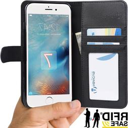 RFID Protection i7 Black Wallet Flip Case Cover for iPhone 7