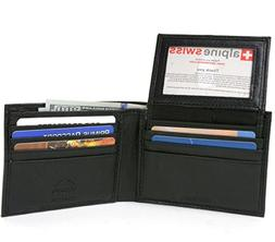 Alpine Swiss RFID Safe Mens Leather Bifold Passcase Wallet 2