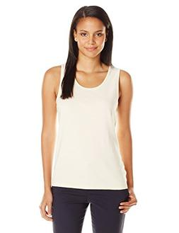 Pendleton Women's Rib Tank, White/Cornsilk Mini Stripe, Larg