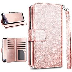 S9 Plus Wallet Case,Galaxy S9 Plus Case,Fingic Glitter Spark