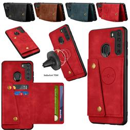 For Samsung Galaxy A20 A205U A21 Leather Wallet Case Magneti