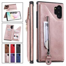 For Samsung Galaxy Note 8 9 10 Plus Leather Zipper Stand Wal