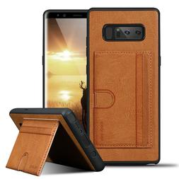 For Samsung Galaxy Note 8 Leather Shockproof Card Slots Kick
