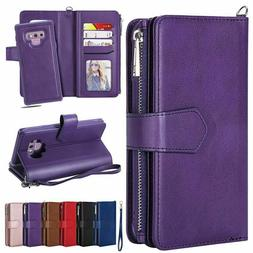 For Samsung Note10 S8 S9 Plus Note8 9 Removable Leather Zipp