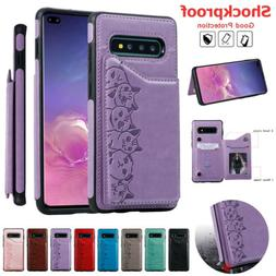 For Samsung Galaxy S10 Plus S9 S8 Women Pattern Leather Card