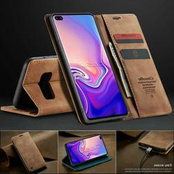 For Samsung Galaxy S10/S9/S8+ Plus Magnetic Flip Cover Leath