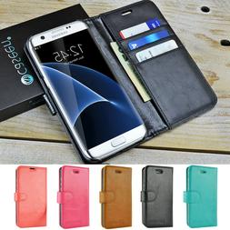 For Samsung Galaxy S7 Edge / S8 / S9 Plus / Note 8 Leather W