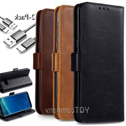 Samsung Galaxy S8 S10 S20 Note9 Leather Flip Wallet Case Pho