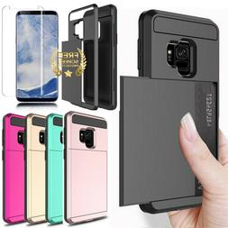 For Samsung Galaxy S9 S8 Plus Wallet Case Card Holder Case F