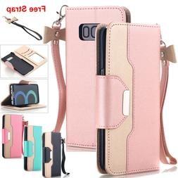 Samsung Galaxy S9 S8 S7 Note 10+ S20+ Ultra Wallet Case Leat