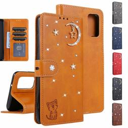 For Samsung S20 S10 Note10 Leather Flip Stand Bling Card Slo
