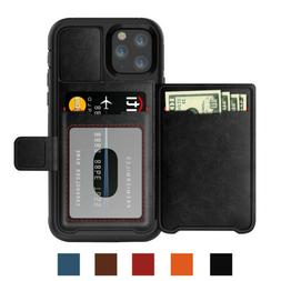 Shockproof Magnetic Rugged Leather Wallet Card Case For iPho