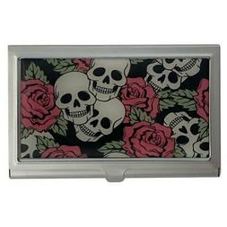 Skull and Roses ID Case Business Card Holder Metal Wallet Wo
