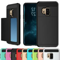 Slide Card Holder Wallet Case Cover For Samsung Galaxy S8 S9