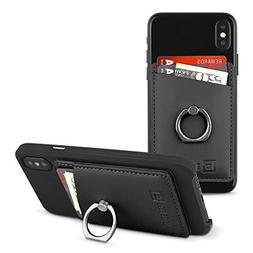 Gear Beast Smart Phone Wallet Card Case with Ring Grip Stand