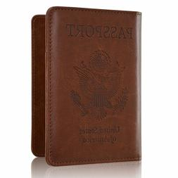 Solid PU Leather Passport Cover Holder RFID Blocking Wallet