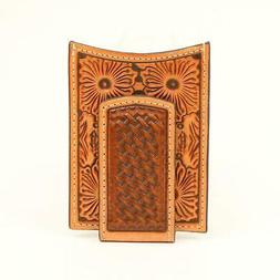 Ariat Tan Floral Embossed Money Clip Wallet