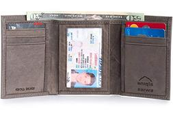 trifold wallet genuine leather card